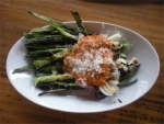 Ramps or Scallions with Smoky Romesco and Manchego Cheese