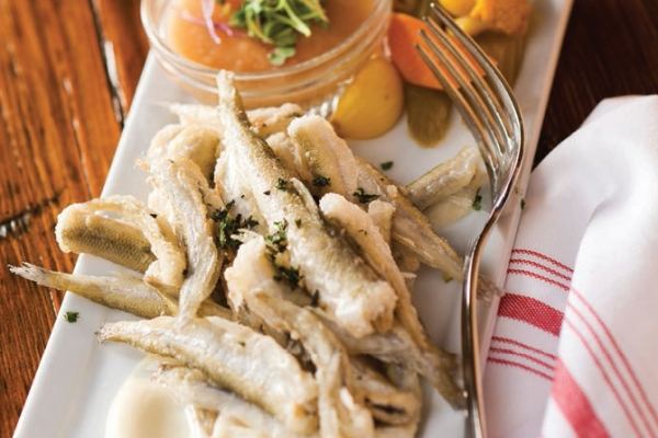 Smelt, served with pickled vegetables