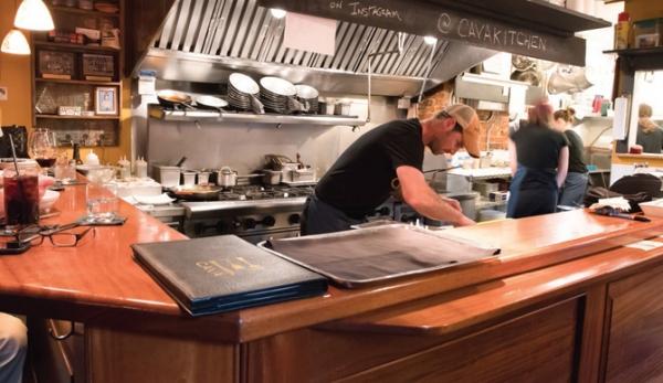 The chef's counter at Cava Tapas & Wine Bar
